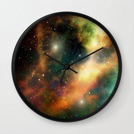 Teal orange gold universe galaxy nebula Wall Clock
