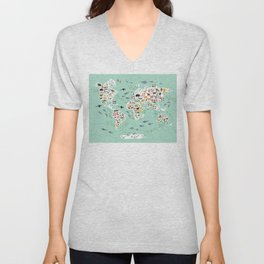 Cartoon animal world map for children and kids, back to schhool. Animals from all over the world Unisex V-Neck