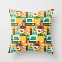 mary poppins Throw Pillows featuring Mary Poppins by Ariel Wilson
