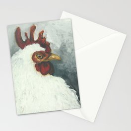 Happy chicken hand painted portrait Stationery Cards