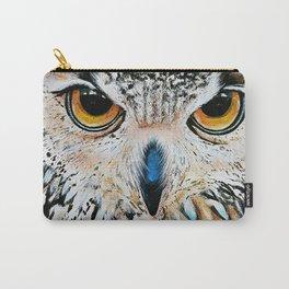 Owl portrait, acrylic on canvas Carry-All Pouch