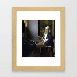 Johannes Vermeer Woman Holding a Balance Framed Art Print