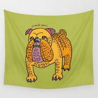 pitbull Wall Tapestries featuring i'm too fat, aren't i? by PINT GRAPHICS