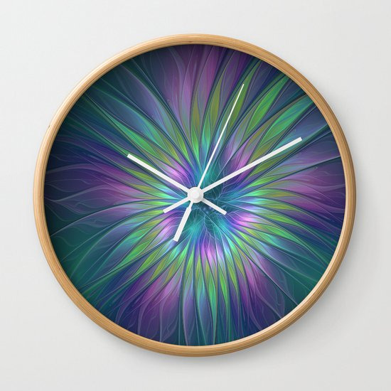 Colorful and luminous Fantasy Flower, Abstract Fractal Art Wall Clock