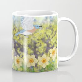 Eastern bluebirds, daffodils, and white rabbit Coffee Mug