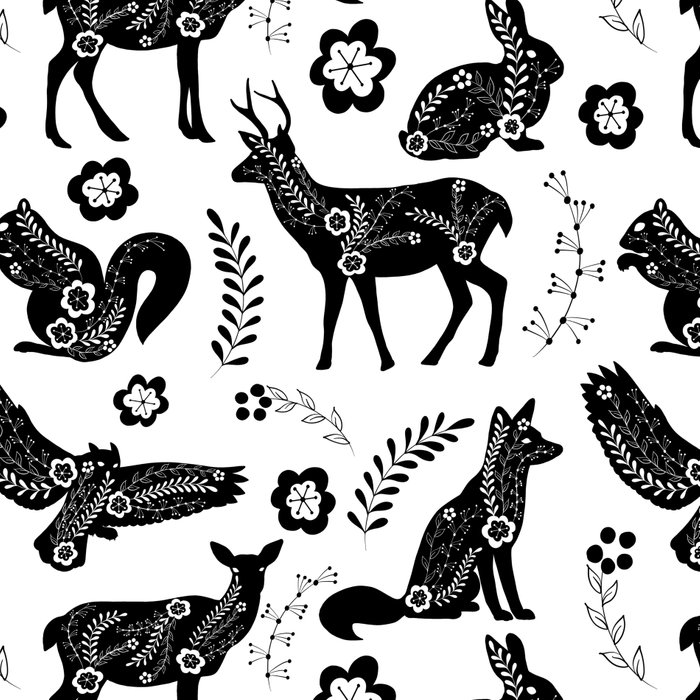 Folk Art Forest Animals Leggings