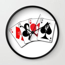 Four Aces Flush Wall Clock