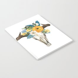 Bohemian bull skull and antlers with flowers Notebook