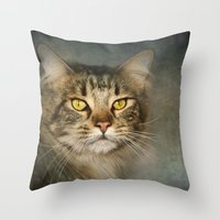 maine Throw Pillows featuring Maine Coon by Pauline Fowler ( Polly470 )