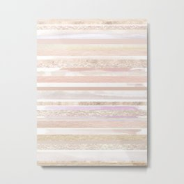 Gold and Pastel Stripes Metal Print