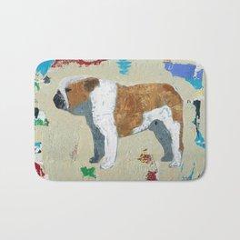 English Bulldog Abstract Art Bath Mat