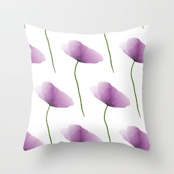 Purple poppies pattern Throw Pillow