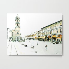Faenza: square with buildings and bell tower Metal Print