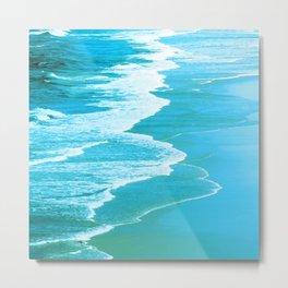 Emerald-Aqua Ocean Surf Waves Metal Print