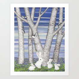 nuthatches, bunnies, and birches Art Print