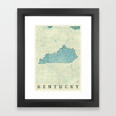 Kentucky State Map Blue Vintage Framed Art Print