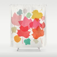 camus Shower Curtains featuring tulipifera 1 by Garima Dhawan