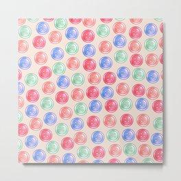 Colourful Button Pattern - Pastel Version Metal Print