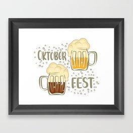 Oktoberfest lettering booze party Framed Art Print