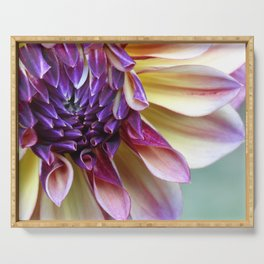 Purple and Yellow Dahlia Serving Tray