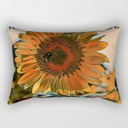 Blooming Sunflower - Life Quote Rectangular Pillow