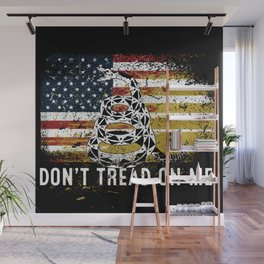Don't Tread on Me Military USA American Flag Rattlesnake Distressed Design American Revolution Wall Mural