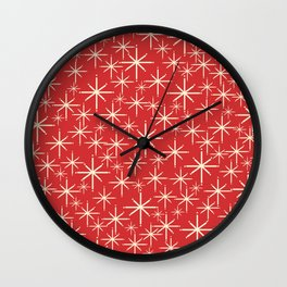 Atomic Age Christmas Stars - Midcentury Modern Pattern in Cream and Retro Xmas Red Wall Clock