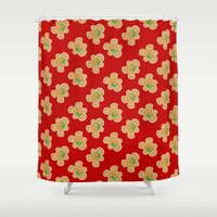 men Shower Curtains featuring Gingerbread Men by Jessica Slater Design & Illustration