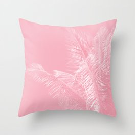 Millennial Pink illumination of Heart White Tropical Palm Hawaii Throw Pillow