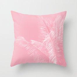 Millennial Pink illumination of Heart White Tropical Palm Hawaii Throw Pillow