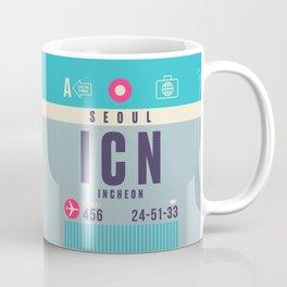 Retro Airline Luggage Tag - ICN Seoul Korea Coffee Mug