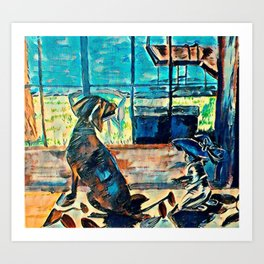 Untold Otter Tail Lake Cabin Stories - Dog and Baby Art Print