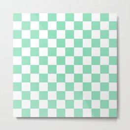 Checkered (Mint & White Pattern) Metal Print