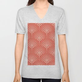 Pantone Living Coral with Cream Polka Dot Scallop Pattern Unisex V-Neck