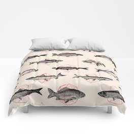 Fishes In Geometrics (Red) Comforters