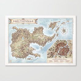 Belthennia - a map of its Independent Territories Canvas Print