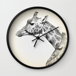 Giraffes With A Hint Of Colour Wall Clock