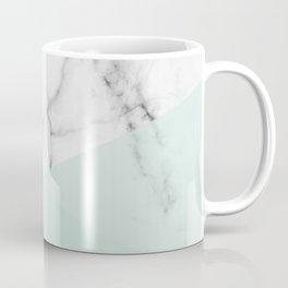 Real White Marble Half Mint Green Shapes Coffee Mug