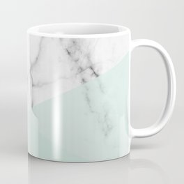 Real White Marble Half Mint Green Shapes Coffee Mug