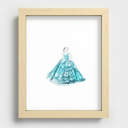 Girl In Teal Alcohol Ink Ball Gown Recessed Framed Print