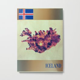 Iceland Map with Flag Metal Print
