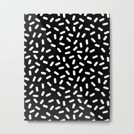 Bingo - black and white sprinkle retro modern pattern print monochromatic trendy hipster 80s style Metal Print