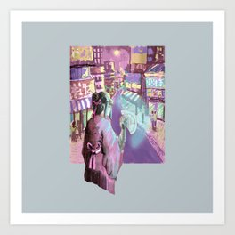 Geisha Cyberpunk Art Print