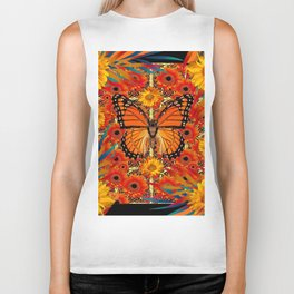 BLACK ORANGE MONARCH SUNFLOWERS ART Biker Tank