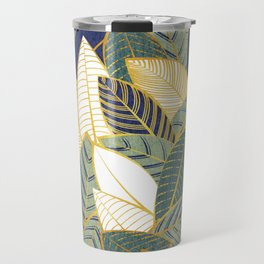 Leaf wall // navy blue pine and sage green leaves golden lines Travel Mug