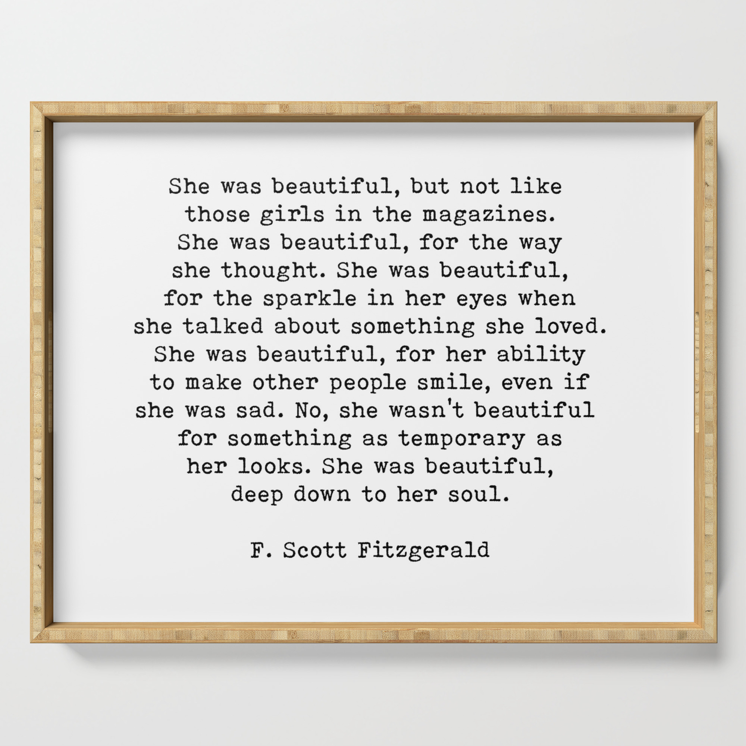 She Was Beautiful F Scott Fitzgerald Quote Serving Tray By Theartshed Society6