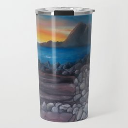 Sunset at Elgol Beach, Fantastic Modern Oil Painting on Canvas, Landscape by Luna Smith Travel Mug