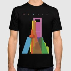 Shapes of Madrid. Accurate to scale. Black MEDIUM Mens Fitted Tee