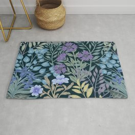 Watercolor Jungle with surreal lush foliage and Flowers Tropical Rug