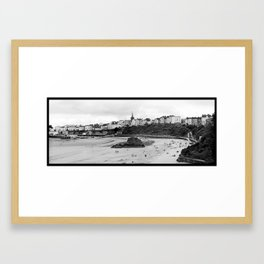 Tenby Harbour.Panoramic.B+W. Framed Art Print